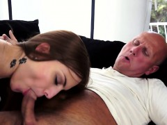 Tattooed Teenie Fucks Grandpa