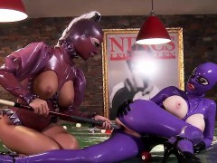 two big titted latex-clad babes fuck each other