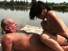 euro-babe-pissing-over-grandpa