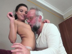 amazing woman facialized by old dude after sex