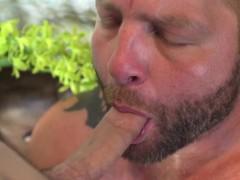 Cocksucking Inked Jock Railing Bottoms Ass