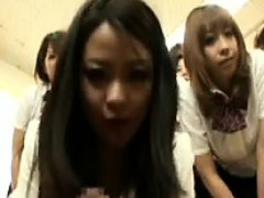 Seductive Japanese Girls Working Their Hands And Lips On A