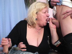 big titted granny in pantyhose takes double penetration