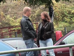 sexy big titted milf picked up for outdoor sex