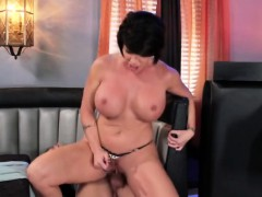 Dark haired milf Shay Fox filled by cock in bar