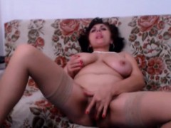 milf with natural monster tits masturbating on webcam