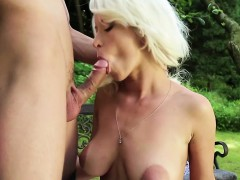 kinky blonde with huge boobs enjoys an incredible outdoor sex