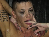 Brunette MILF Jezebelle gets steamy in the shower