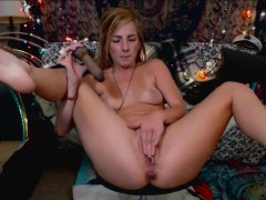 blonde woman squirting on vibes