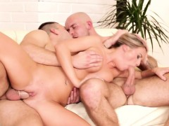 bisexual jock blows dick before anal in trio