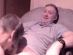 Old Guy Enjoying A Blowjob