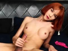 Gorgeous Redhead Ladyboy Masturbates Solo