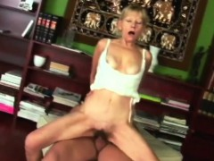 A Slutty Blonde Granny Rubs Her Hairy Pussy