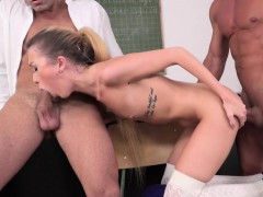 Cute Teen Doublepenetrated After Classes
