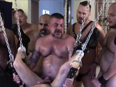 hoisted-bear-barebacked-in-gangbang-by-guys