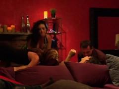 swinger couples enjoy red room orgy