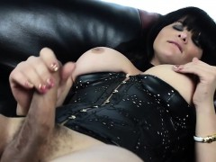 Leather Lingerie Tgirl Tugging Cock On Couch