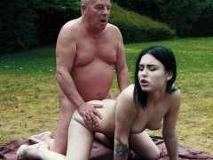 Romantic Picnic Turns In Sexy Fuck For Grandpa And Teen