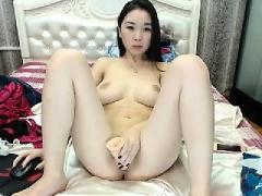 beautiful horny brunette toys masturbation sh