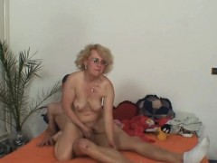 Wife finds old mother riding her man's cock