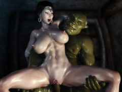 3d hentai two orcs find some kinky milf and get her creampied