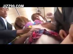 cute schoolgirl gangbang by bus geek