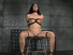 Busty Restrained Slave Caned While Cunt Toyed