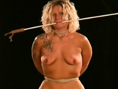 Submissive Sweetheart Stands And Endures Breast Bondage Porn