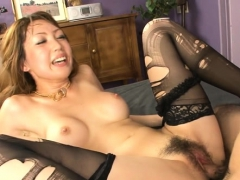 Oriental hottie mounts big cock and fucks until she squirts