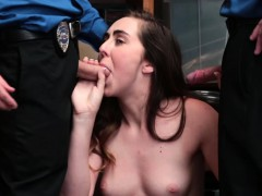 Teen Shoplifting Busted And Fucked By Two Security Guys