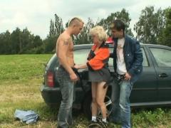 Blonde Granny Double Penetration In The Fields