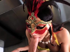 sexy latina in mask gets her ass ripped by big dick