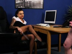 Stockinged British Voyeur Commands Sub To Tug