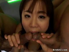 double-cock-sucking-for-maki-hoshino