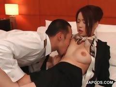 stockinged-asian-flight-attender-gets-tits-licked