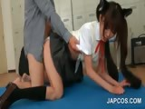 Asian cute schoolgirl fucked doggie by teacher