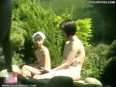 bathing-girls-shower-hot-spring