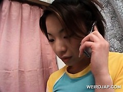 Japanese Teen sweetie in Hot Outfit Having phone Sex
