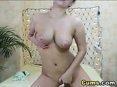 Babe Rubs Her Huge Hard Clit