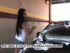Alexa Loren Hot Brunette Girl In A Car Wash