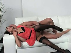 Hot Female Agent In Stockings Fucking On Couch