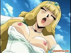 Virgin hentai Princess sucking and fucking monster cock