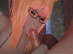 Hentai 3d Blonde Neko Girl With Glasses Fucking