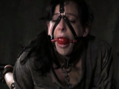 Spanked Submissive Drooling While Gagged