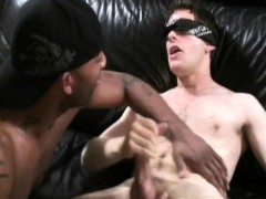 Blindfold white gay fucked by dark huge cock