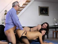 Teen Slut In Threesome With British Milf In Stockings