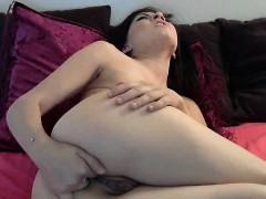 Hot Brunette Teen Rubs Pussy On Webcam
