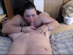 Horny Bbw Eating Her Hubby's Cock For Dinner