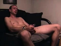 Straight Amateur Hunk Strokes Pierced Cock