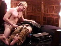 Leather Strait Jacketed Stud Gets Balls Crushed With A